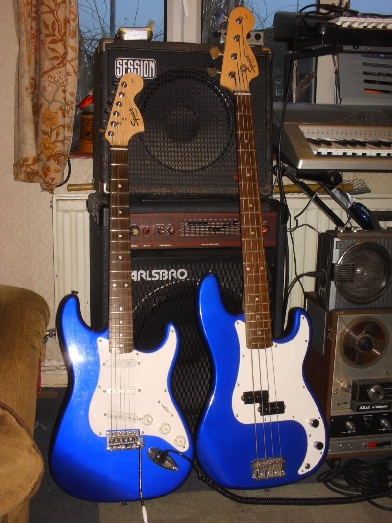 Matching guitar & bass.
